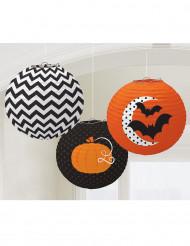 3 lantaarns met Halloweenpatronen