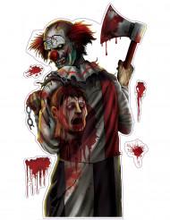 Bloederige clown Halloween sticker