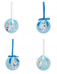4 kerstballen Olaf Frozen™ 7.5 cm