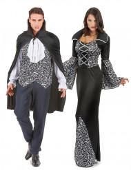 Zwart en wit vampier koppelkostuum voor volwassenen