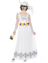 Witte bruid kostuum Dia de los Muertos voor vrouwen