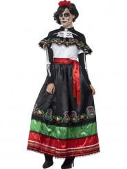 Lange Día de los Muertos jurk voor vrouwen
