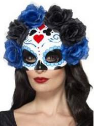 Zwart met blauw Dia de los Muertos masker