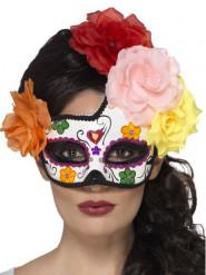 Día de los Muertos bloemen masker voor vrouwen