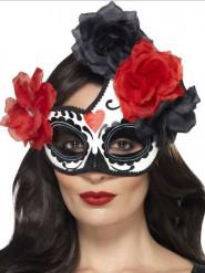 Half masker Dia de los Muertos met bloem