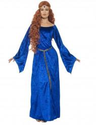 Fluweelachtige blauwe middeleeuwse outfit voor vrouwen