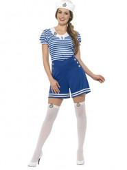 Blauw kort matrozenkostuum voor vrouwen
