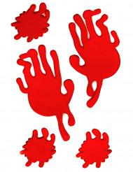 Handafdrukken en bloedvlekken in gelvorm
