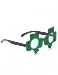 Groene Saint Patrick klavertjes bril voor volwassenen