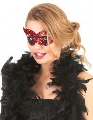 Venetiaans masker met rode lovertjes voor volwassenen