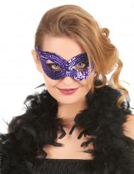 Venetiaans masker met paarse lovertjes voor volwassenen