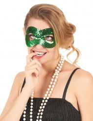 Groen masker met lovertjes voor volwassenen