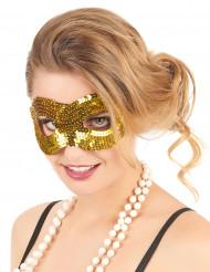 Masker met goudkleurige lovertjes voor volwassenen