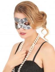 Zilverkleurig lovertjes oogmasker voor volwassenen