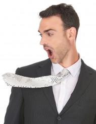 Witte stropdas met lovertjes voor volwassenen