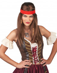 Piraat of hippie pruik voor volwassenen