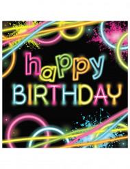 16 Glow Party Happy Birthday servetten