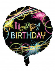 Aluminium fluo Happy Birthday ballon
