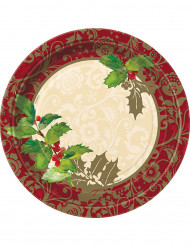 8 kartonnen kerst bordjes hulstblad