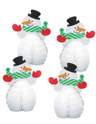 4 mini sneeuwpop versieringen