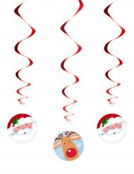 3 kerst hangdecoraties kerstman en rendier