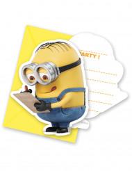 6 Minions™ uitnodigingen met enveloppen