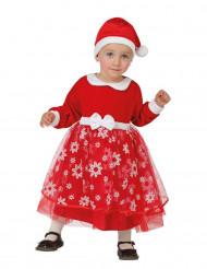 Rood kerstvrouw kostuum met sneeuwvlokken voor baby