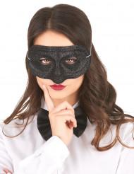 Zwart glitter masker voor volwassenen
