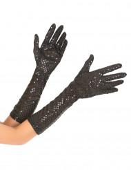 Mid-lange zwarte glitter handschoenen voor volwassenen