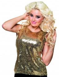 Goud glinsterend pailletten shirt voor dames