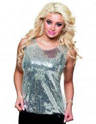 Zilverkleurig disco pailletten shirt voor dames