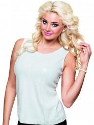 Wit glitter shirt met pailletten voor dames