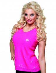 Fluo roze pailletten shirt voor dames