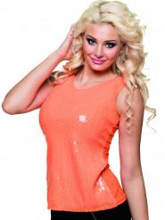 Oranje glitter shirt met pailletten voor dames
