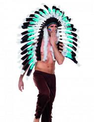 Grote blauwe indianen hoofdtooi voor volwassenen