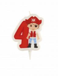 Cijfer 4 piraten verjaardagskaars