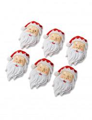 6 kerstman versieringen met plakrand