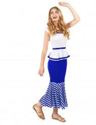 Wit en blauw Galliër kostuum voor vrouwen