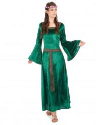 Groen middeleeuws kostuum voor dames