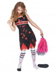 Zwart rood zombie USA cheerleader kostuum voor meisjes