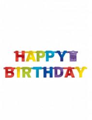 Veelkleurige regenboog Happy Birthday slinger