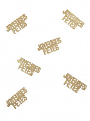 6 goudkleurige Joyeuses Fêtes confetti
