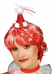 Rood clown mini hoedje voor volwassenen