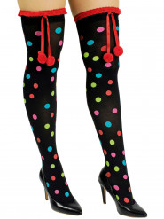 Zwarte kousen met gekleurde stippen en pompons volwassenen