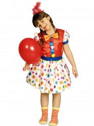 Clownskostuum met veelkleurige stippen voor meisjes