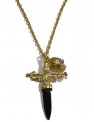 Zwarte en goudkleurige zwaard ketting voor volwassenen