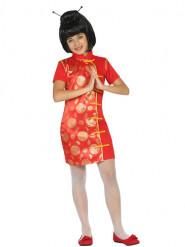 Rood en goudkleurig Chinees kostuum voor meisjes