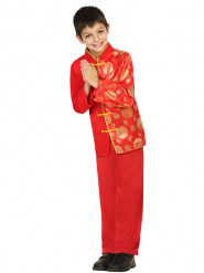 Rood en goudkleurig Chinees kostuum voor jongens
