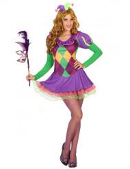 Sexy paars harlekijn kostuum voor vrouwen