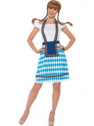 Blauw en wit Tiroler jurkje voor vrouwen